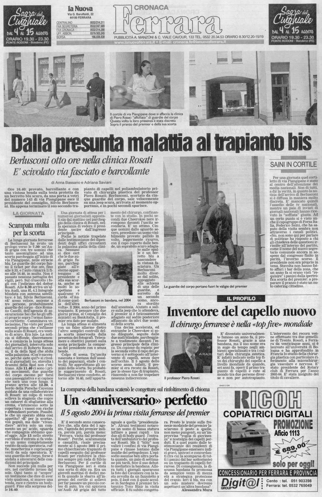 Berlusconi a Ferrara per un trapianto bis - La Nuova Ferrara - Articolo