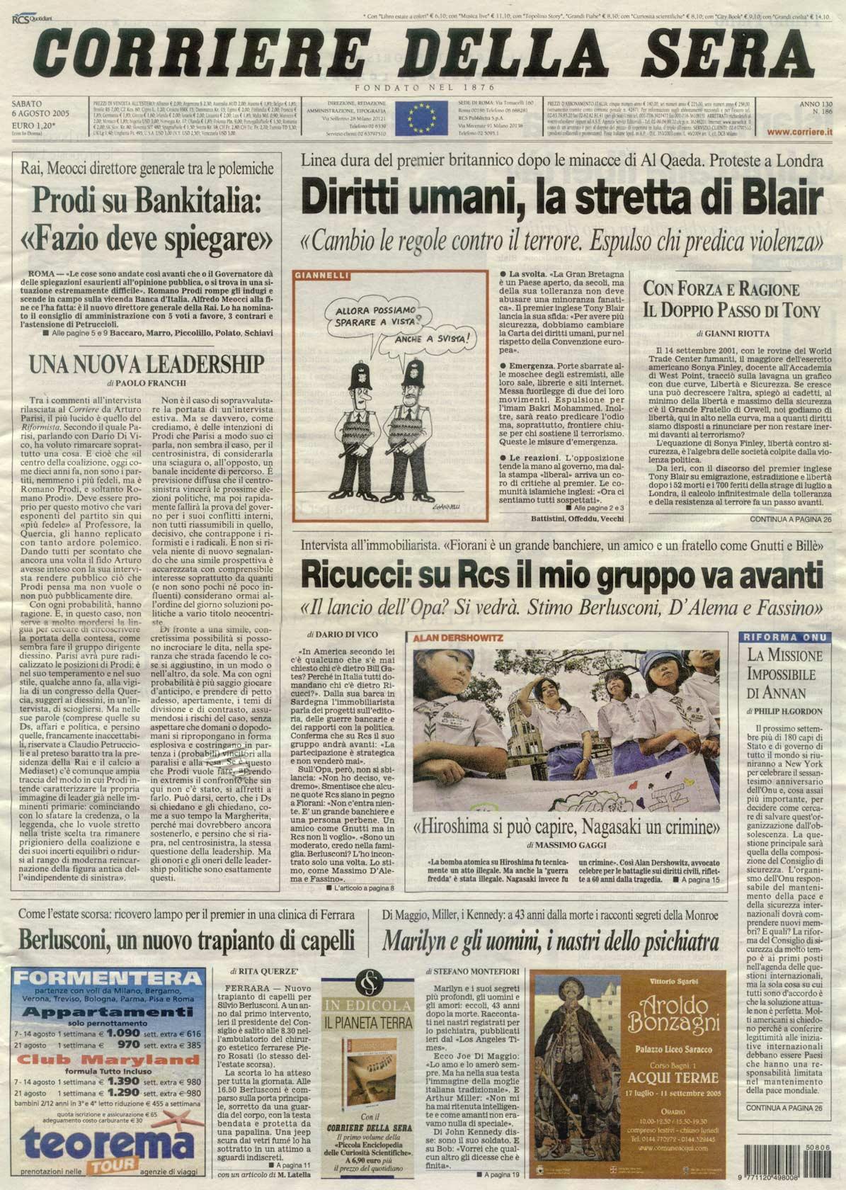 Berlusconi, un nuovo trapianto di capelli - Corriere della Sera - Prima pagina