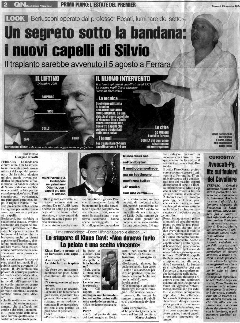Berlusconi: un segreto sotto la bandana - I nuovi capelli di Silvio - Articolo 2