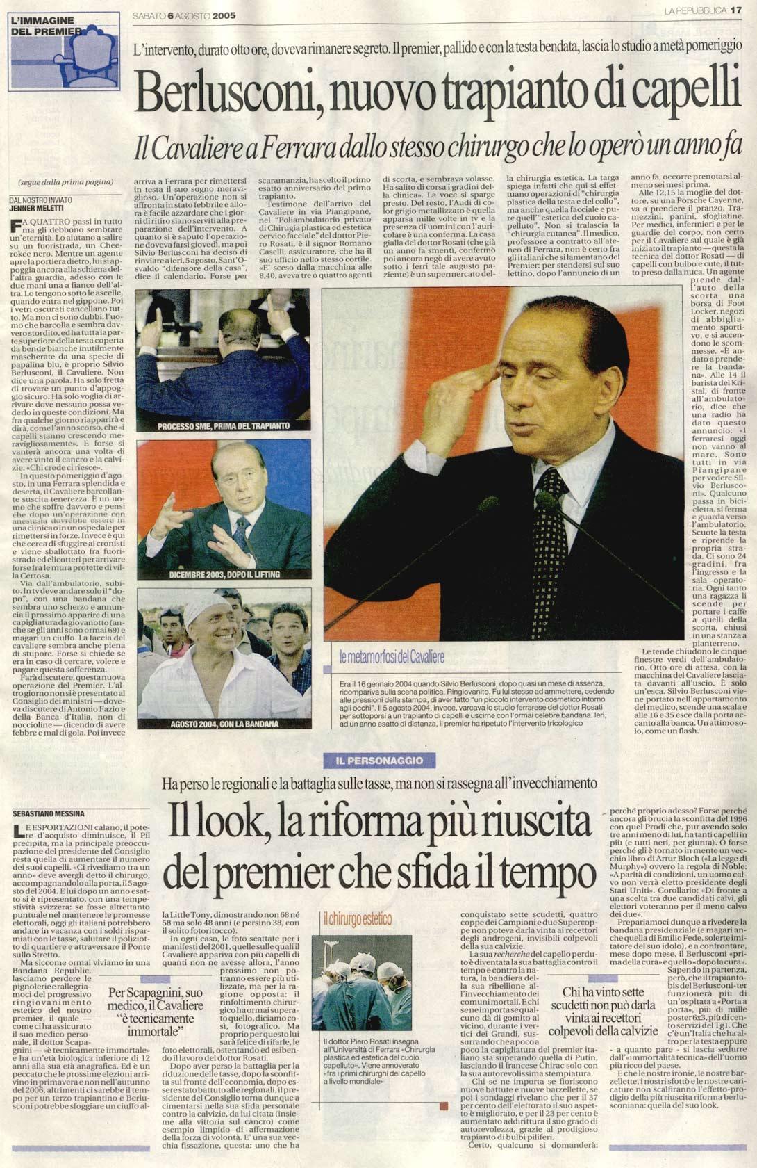 Il nuovo trapianto del Cavaliere - La Repubblica articolo