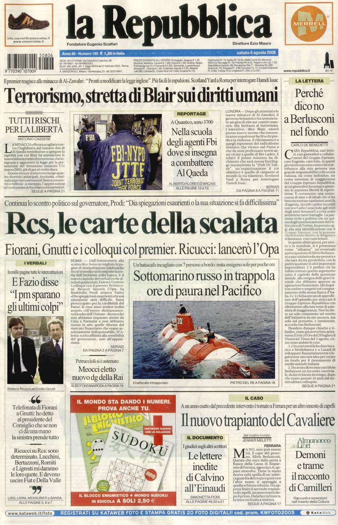 Il nuovo trapianto del Cavaliere - La Repubblica prima pagina