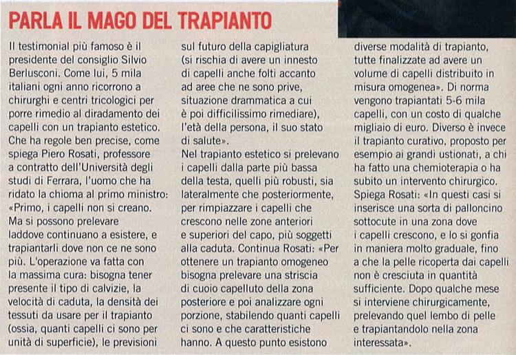 Parla il mago del trapianto - Articolo su Piero Rosati su L'Espresso
