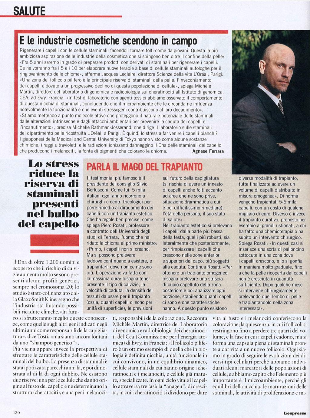Parla il mago del trapianto - Articolo su Piero Rosati su L'Espresso 3