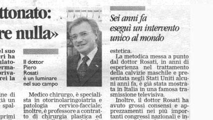 Piero Rosati eseguì un intervento unico al mondo