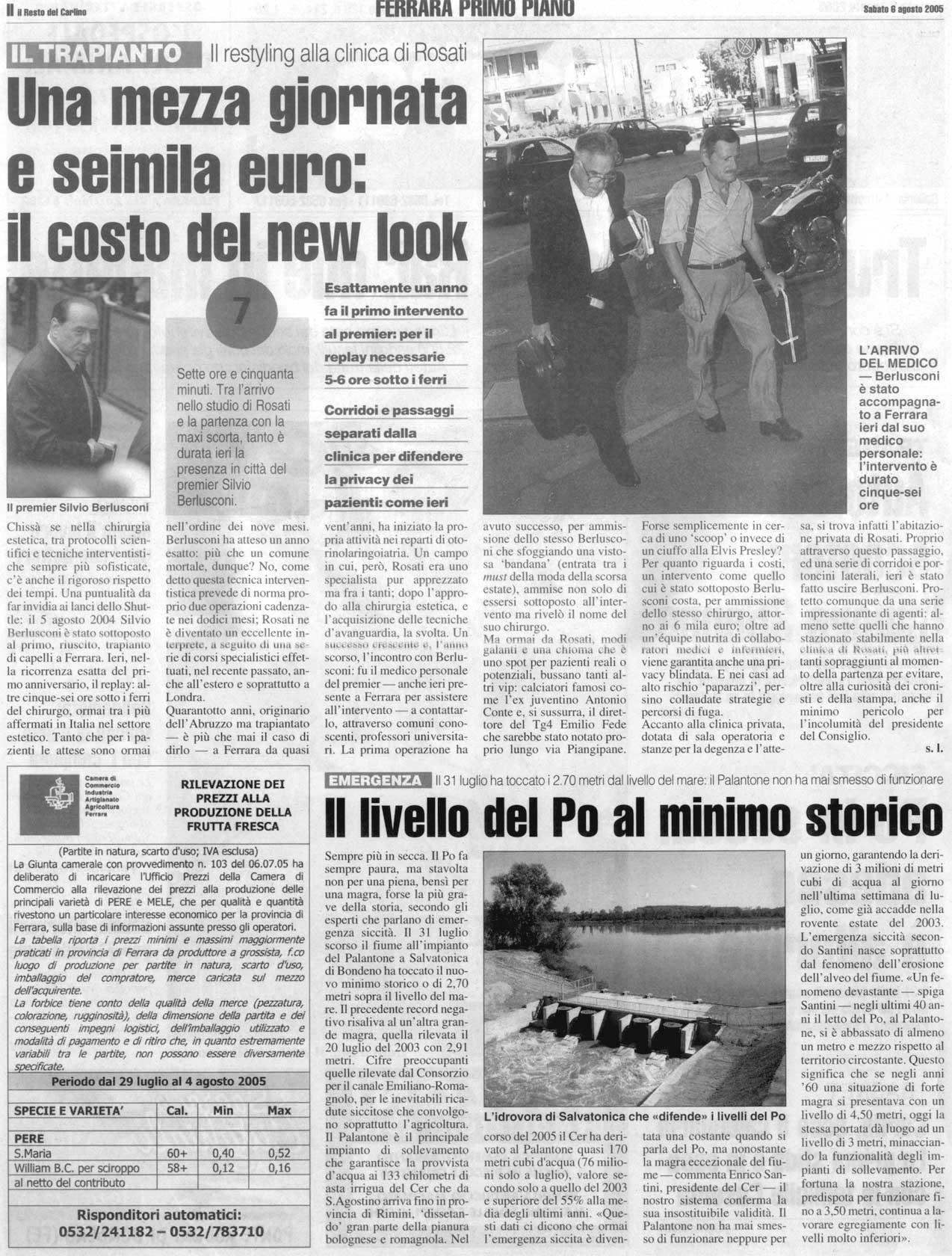 Trapianto bis per Berlusconi - Articolo Il Resto del Carlino 1