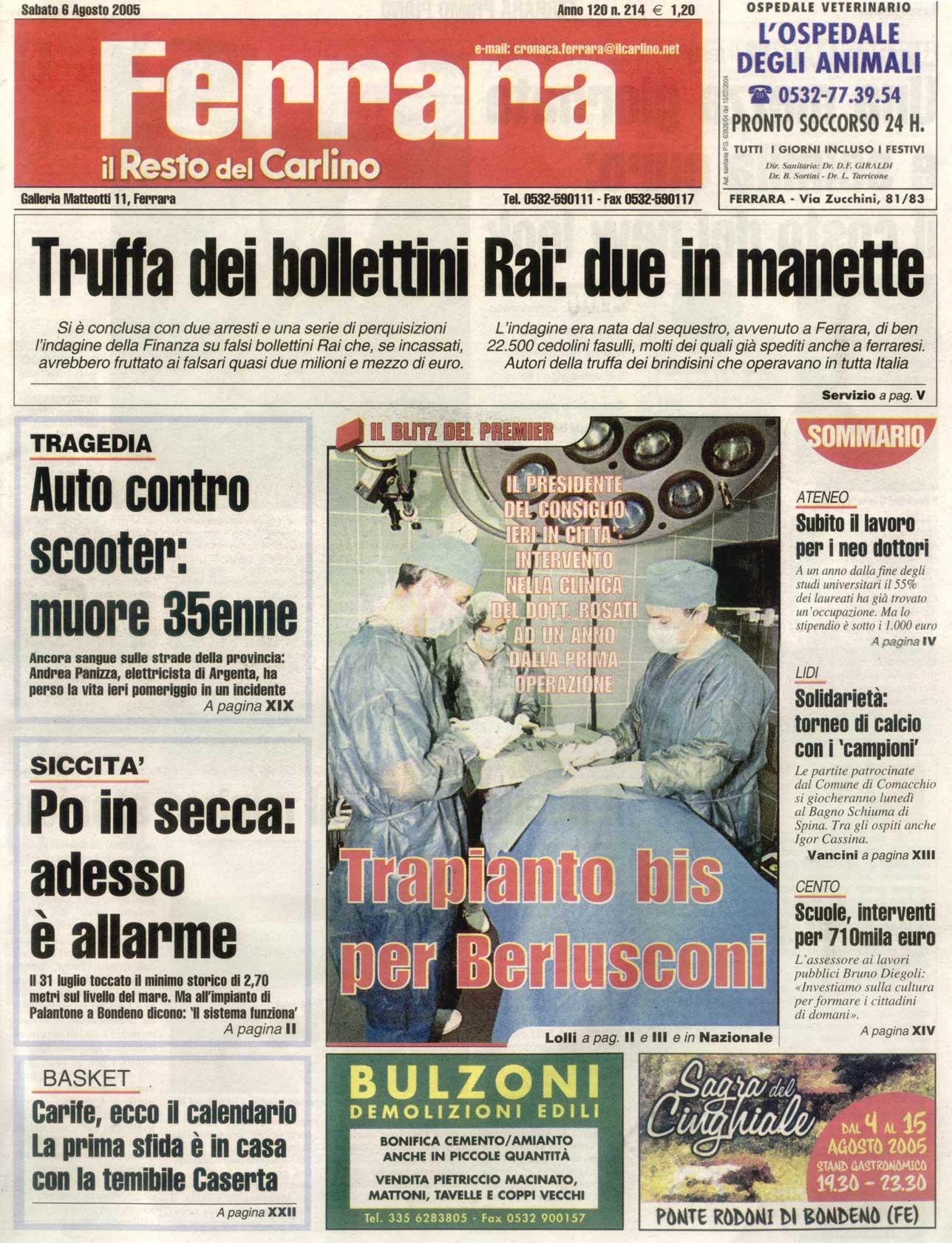 Trapianto bis per Berlusconi - Copertina Il Resto del Carlino